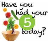 "Vegetables falling into a wooden salad bowl with text ""have you had your 5 today?"""