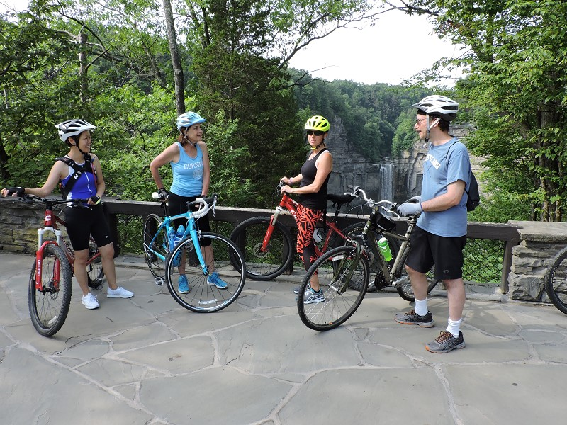 image of people biking in the Finger Lakes