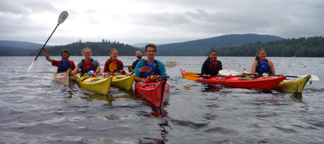 A group od students on a sea kayaking trip in the 1,000 Islands region on New York