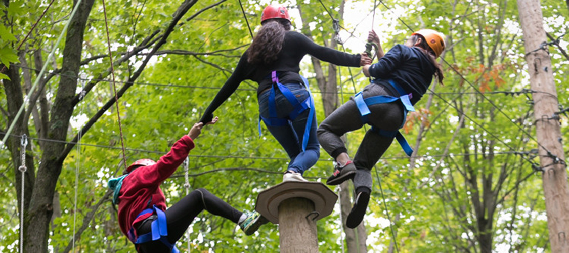 A team on a high element at the challenge course