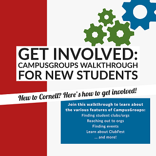 Flyer for a CampusGroups walkthrough for new students