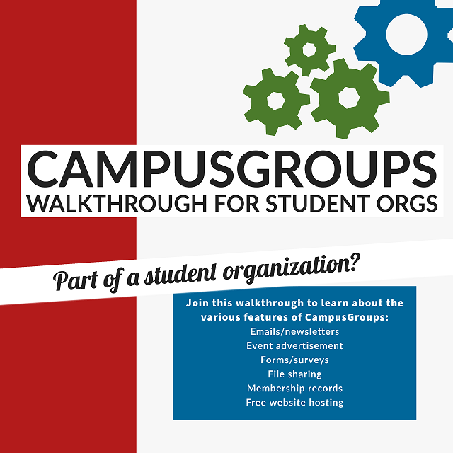 Flyer for a CampusGroups walkthrough for student organization leaders