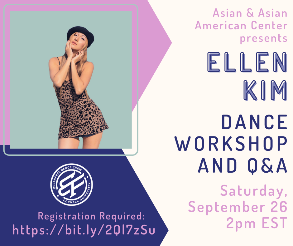 Join us on Saturday, September 26 at 2pm EST for Ellen Kim's 60 minute dance workshop and Q&A. The event is being co-sponsored by BreakFree. Registration is required at  https://bit.ly/2Ql7zSu.