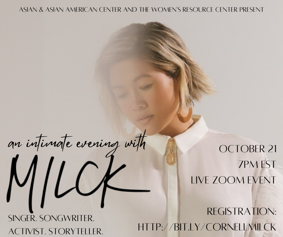 Join us for an intimate evening with MILCK! The event is on Wednesday, October 21 at 7pm EST. Registration is required at http://bit.ly/CornellMILCK