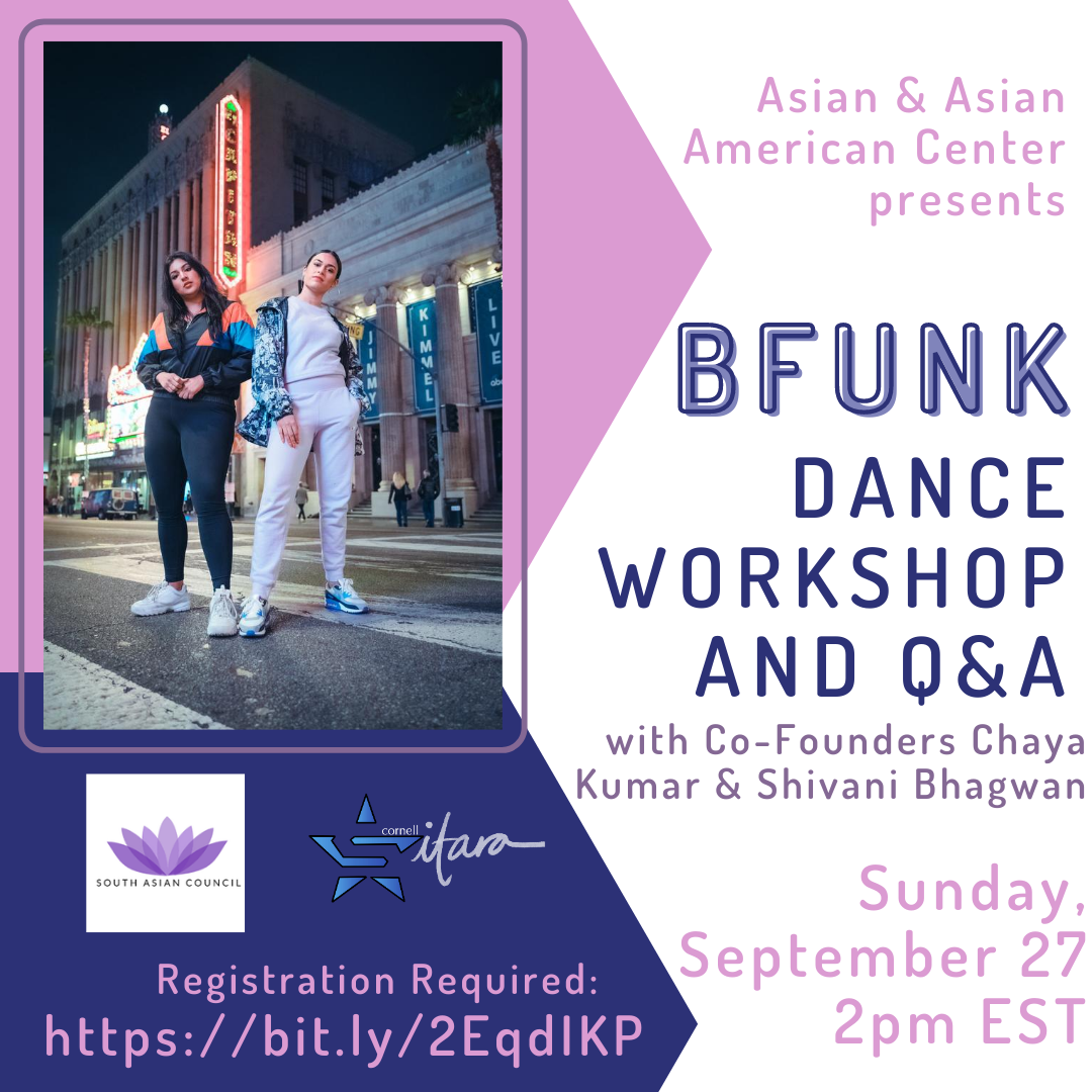 Join us on Sunday, September 27 at 2pm EST for BFUNK's Dance Workshop and Q&A. The event is being co-sponsored by Sitara and SAC. Registration is required at https://bit.ly/2EqdIKP.