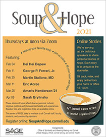 Schedule of Soup & Hope speakers; same content reflected on web page