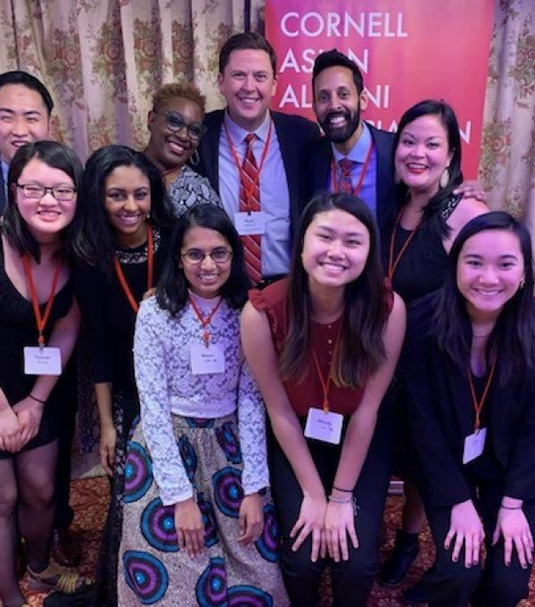 Cornell students (front row: YuAn Chen '22, Wendy Lau '22, Meera Shah '20, Nadin Suliman '23, Lily Kuang '23) attended the CAAA annual banquet along with (back row, left to right) Daniel Hoddinott; Marla Love, senior associate dean of students, Diversity and Equity; Ryan Lombardi, vice president for Student & Campus Life; Dean Pendakur; and Nancy Martinsen.
