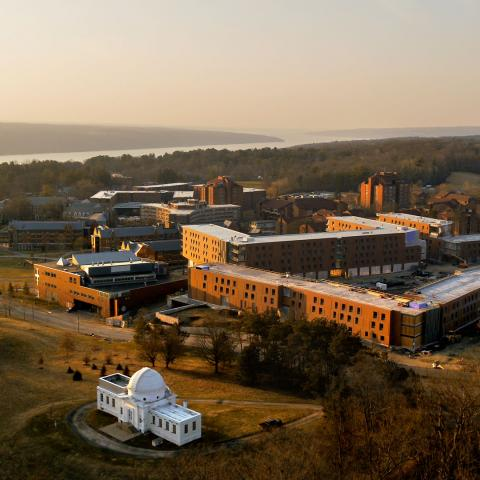 Aerial view of north campus with Cayuga Lake in background