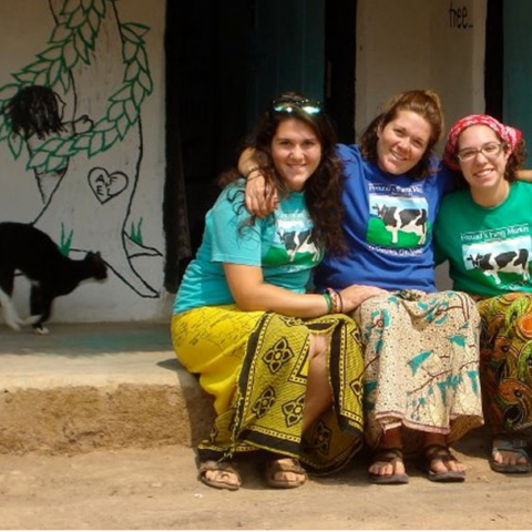 Amanda Freund (center) with her sisters, who visited during her service in Zambia. Image provided.